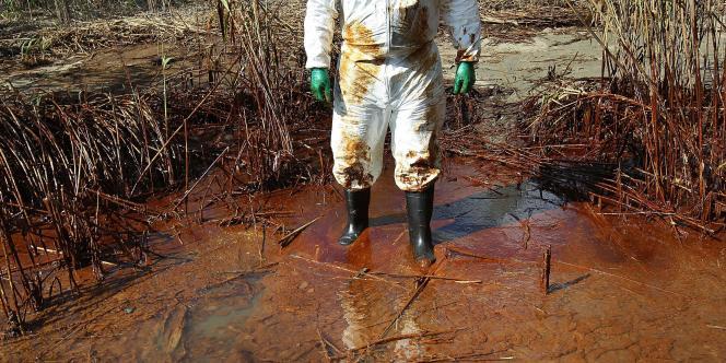 Un militant de Greenpeace sur une plage souillée par du pétrole près de Venice, en Louisiane.