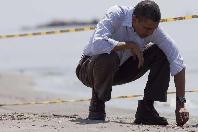 Barack Obama lors de son déplacement en Louisiane, vendredi 28 mai.