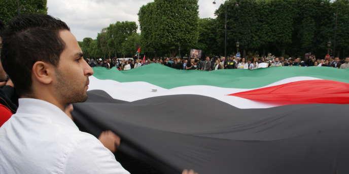 Un manifestant agite un drapeau palestinien géant sur les Champs-Elysées, lors du rassemblement parisien anti-israélien, le 31 mai 2010.