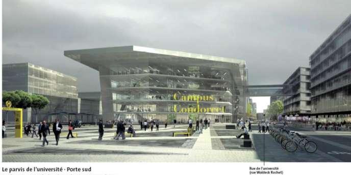 Image de synthèse du projet du futur campus Condorcet, côté Aubervilliers, des architectes Lipsky et Rollet.