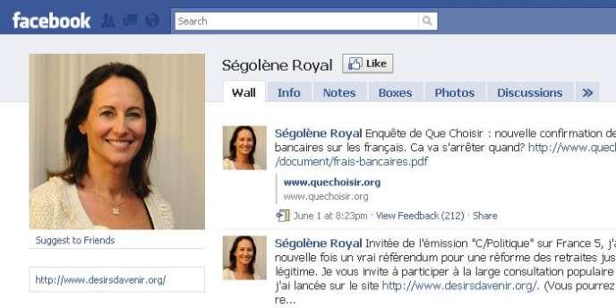 La page Facebook de Ségolène Royal.