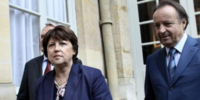 Martine Aubry et le sénateur socialiste Jean-Pierre Bel, en mai 2010.