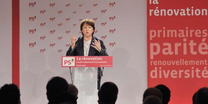 Martine Aubry, mardi 8 juin à Paris, lors du conseil national du PS qui a entériné plusieurs réformes-clé en vue de la présidentielle de 2012.