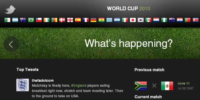Capture d'écran du site spécial consacré par Twitter au Mondial.