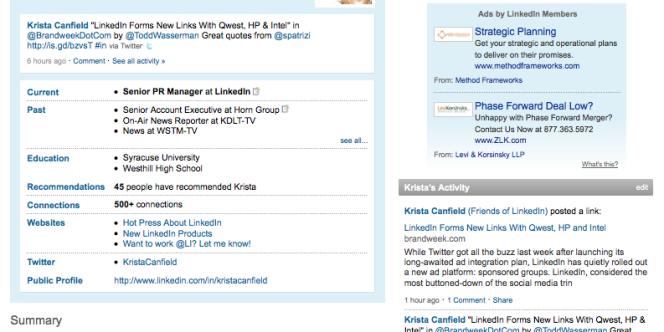 Une page de profil du réseau professionnel LinkedIn.