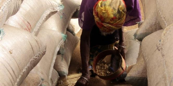 Dans le nord du Niger, sur un marché, une femme des grains de maïs tombés de sacs, le 1er juin 2010.