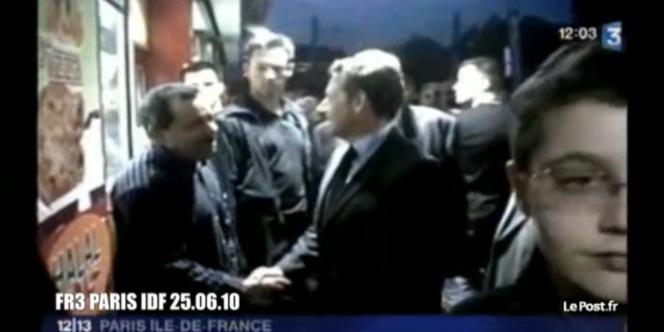 Capture d'écran du reportage de France 3 sur la visite surprise de Nicolas Sarkozy à Saint-Denis, mercredi 23 juin.