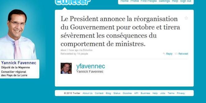 C'est par un message posté sur le réseau de micro-blogging Twitter que le député Yannick Favennec a rendu compte de la réunion des députés UMP avec le président de la République.