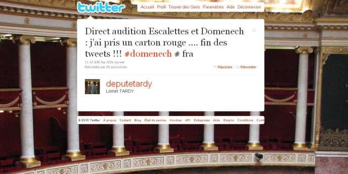 Le député de Haute-Savoie Lionel Tardy a rentransmis en direct sur Twitter une partie de l'audition à la commission des affaires culturelles de Jean-Pierre Escalettes et Raymond Domenech.