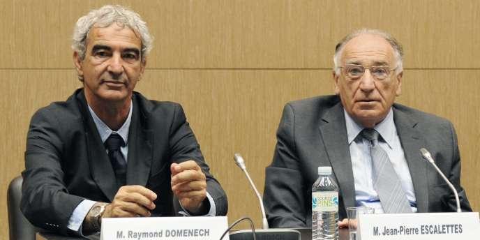 Raymond Domenech et Jean-Pierre Escalettes, à l'Assemblée, le 30 juin.