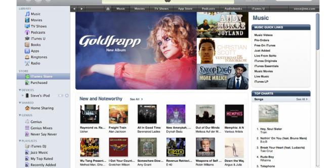 iTunes, le magasin en ligne d'Apple.