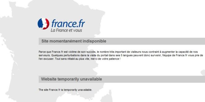 La page d'accueil de France.fr est indisponible depuis le 14 juillet.