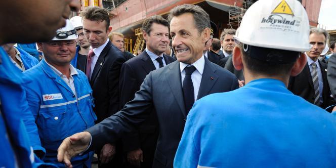 Comme ici à Saint-Nazaire le 23 juillet 2010, Nicolas Sarkozy cible son électorat lors de ses visites.