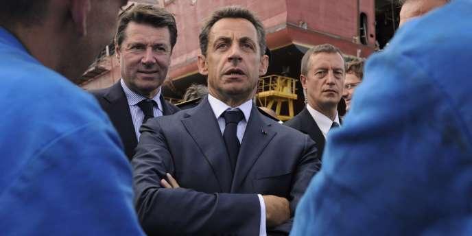 Nicolas Sarkozy, lors d'une visite des chantiers de Saint-Nazaire en juillet.