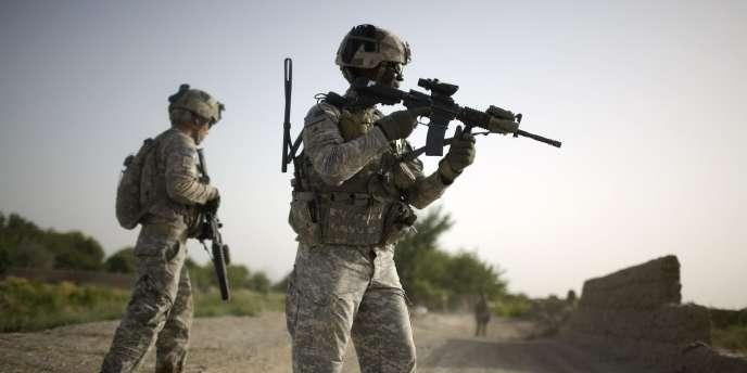 Patrouille de soldats américains dans la vallée de l'Arghandab, près de Kandahar 'Afghanistan, lundi 26 juillet.