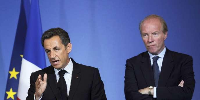 Nicolas Sarkozy et Brice Hortefeux, en déplacement à Grenoble pour un discours sur la sécurité, le 30 juillet.