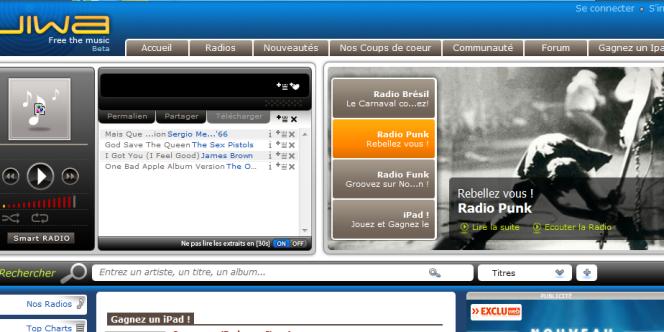 La page d'accueil de Jiwa, le site d'écoute de musique à la demande.