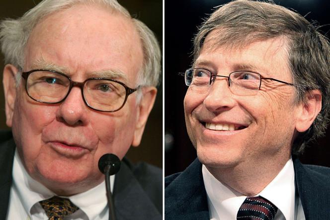 De droite à gauche et de haut en bas : Warren Buffet, Bill Gayes, Ted Turner, Michael Bloomberg, Larry Ellison et George Lucas.