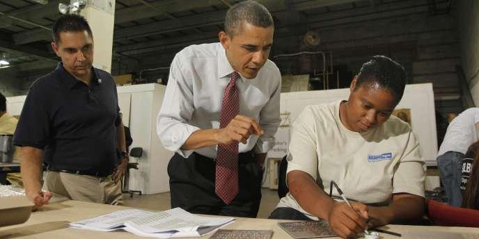 En visite dans une entreprise de Washington, Barack Obama a rappelé que l'emploi progresse dans le privé