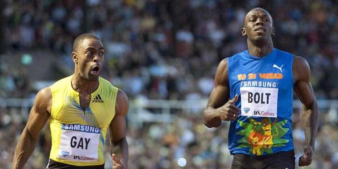 Tyson Gay et Usain Bolt, à Stockholm le 6 août.