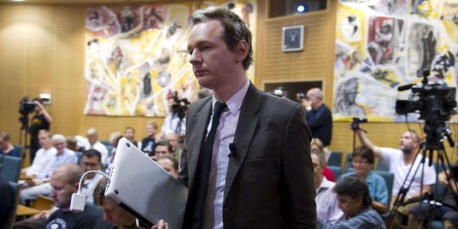 Julian Assange à Stockholm, samedi 14 août.