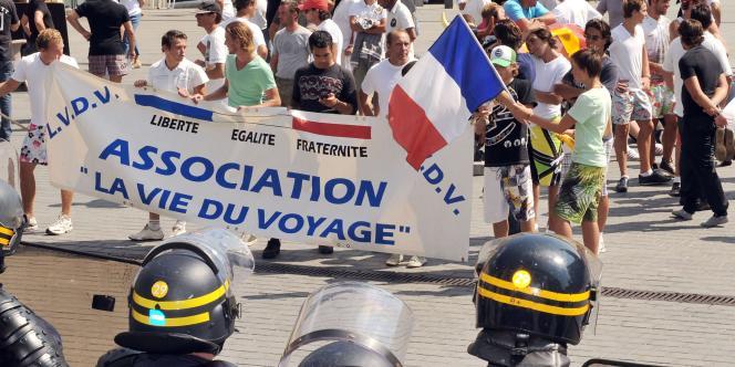Une manifestation de gens du voyage à Bordeaux, le 16 août 2010.