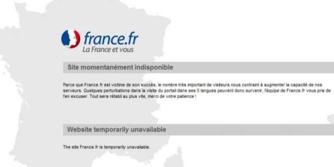 La page d'accueil de France.fr, indisponible pendant près d'un mois.