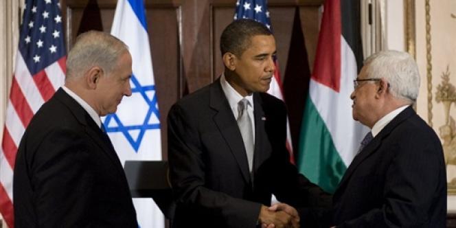 Benyamin Nétanyahou, Barack Obama et Mahmoud Abbas lors d'une rencontre le 22 septembre 2009 à New York.