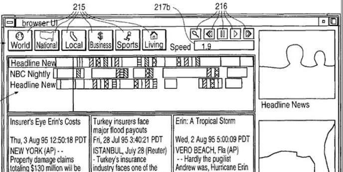 Deux des brevets portent sur des encadrés qui s'affichent en marge d'un écran pour attirer l'attention.