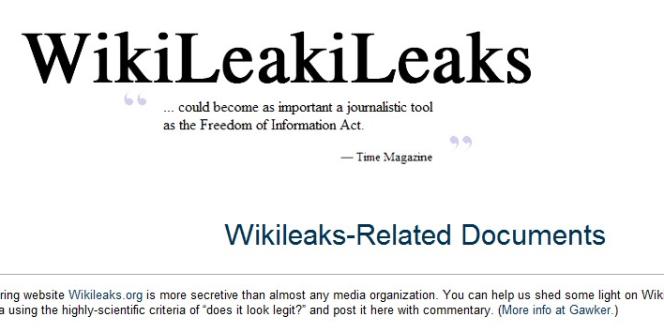 Wikileakileaks, le Wikileaks consacré à Wikileaks.