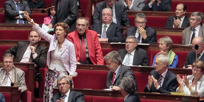 La députée socialiste Marisol Touraine (au centre)  lors du débat sur les retraites, le 8 septembre.