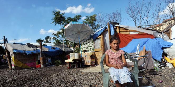 Un campement de Roms, à Lyon, le 12 août 2010.