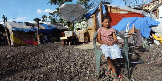 Dans un campement rom, à Lyon, le 12 août 2010.
