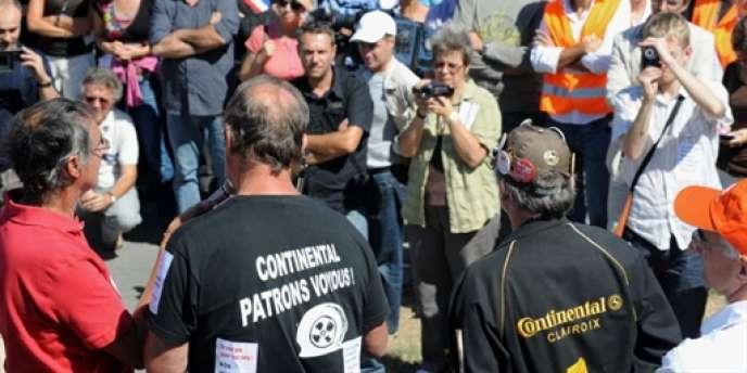 Des travailleurs allemands du groupe Continental, lundi 13 septembre à Toulouse.