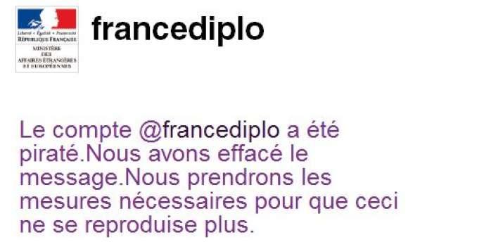 Capture d'écran du compte Twitter du ministère des affaires étrangères.