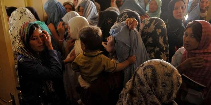 Un bureau de vote pour femmes, le 18 septembre à Kaboul.