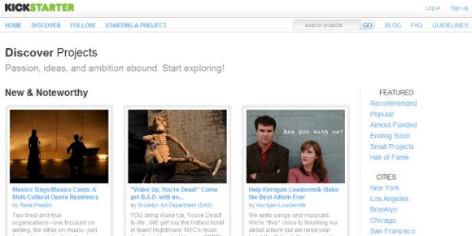 Le site Kickstarter, qui propose à la communauté de financer des projets.