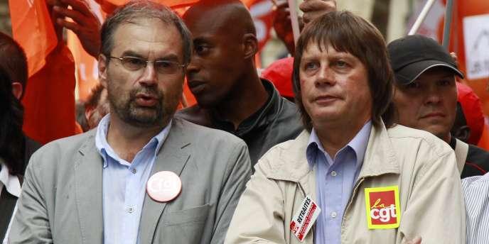 François Chérèque et Bernard Thibault lors de la manifestation du 23 septembre contre la réforme des retraites.