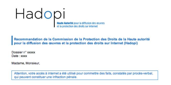 Un fac-similé des courriels d'avertissement que la Hadopi envoie aux internautes suspectés de télécharger illégalement ou de ne pas avoir sécurisé leur connexion à Internet.