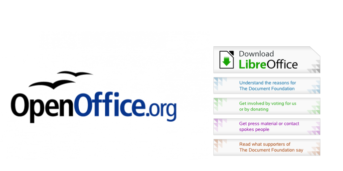 Les logos d'OpenOffice.org et de LibreOffice.