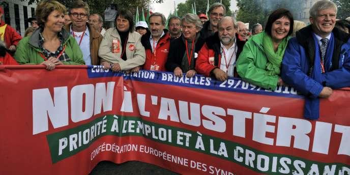 Manifestation à Bruxelles, en septembre 2010 des syndicats européens pour défendre une Europe plus sociale