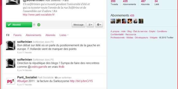 Capture d'écran du compte Twitter