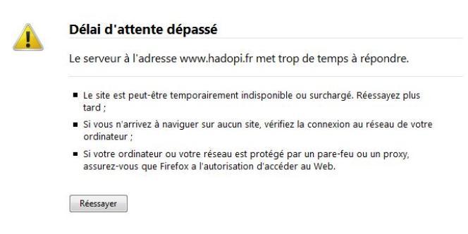 Capture d'écran du site Hadopi.fr, innaccessible à 12 heures, samedi 2 octobre.