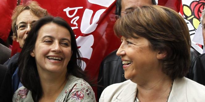 Cécile Duflot et Martine Aubry dans la manifestation parisienne contre la réforme des retraites, le 23 septembre 2010.