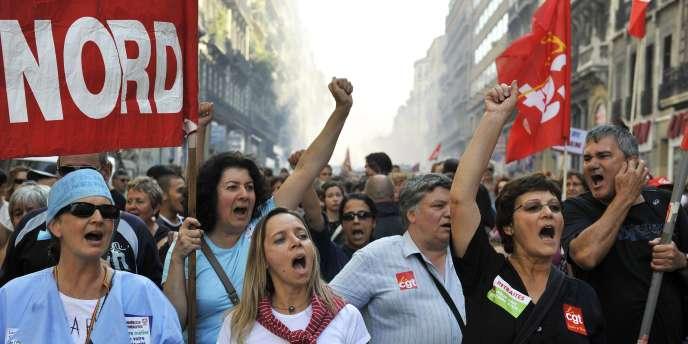 Dans la manifestation à Marseille, le 2 octobre 2010.