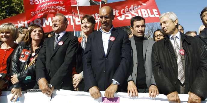 Les socialistes Bertrand Delanoë, Harlem Désir, Benoît Hamon et Claude Bartolone dans la manifestation parisienne du 12 octobre contre la réforme des retraites.