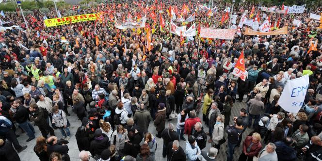 Manifestation à Saint-Nazaire, le 19 octobre 2010.