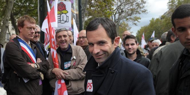 Benoît Hamon lors de la manifestation contre la réforme des retraites du samedi 16 octobre 2010, à Paris.