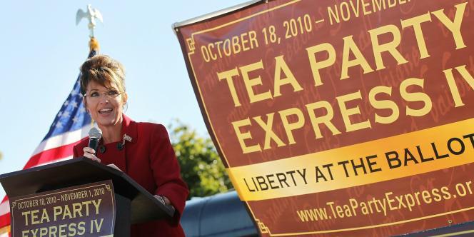 L'ex-candidate à l'élection présidentielle, Sarah Palin, lors d'un meeting organisé par le mouvement Tea Party à Reno (Nevada), le 18 octobre 2010.