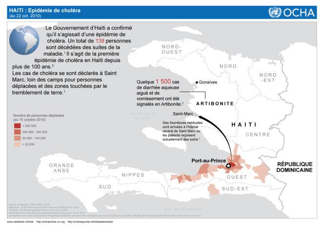 Carte de l'épidémie de choléra fournie par Le Bureau de la coordination des affaires humanitaires (OCHA - Office for the Coordination of Humanitarian Affairs) le 22 octobre.